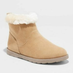 BIG GIRLS SHEARLING FAUX FUR ANKLE BOOTS BOOTIES